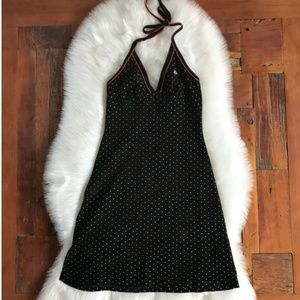 Lacoste Knit Polka Dot Halter Dress Tennis Sporty